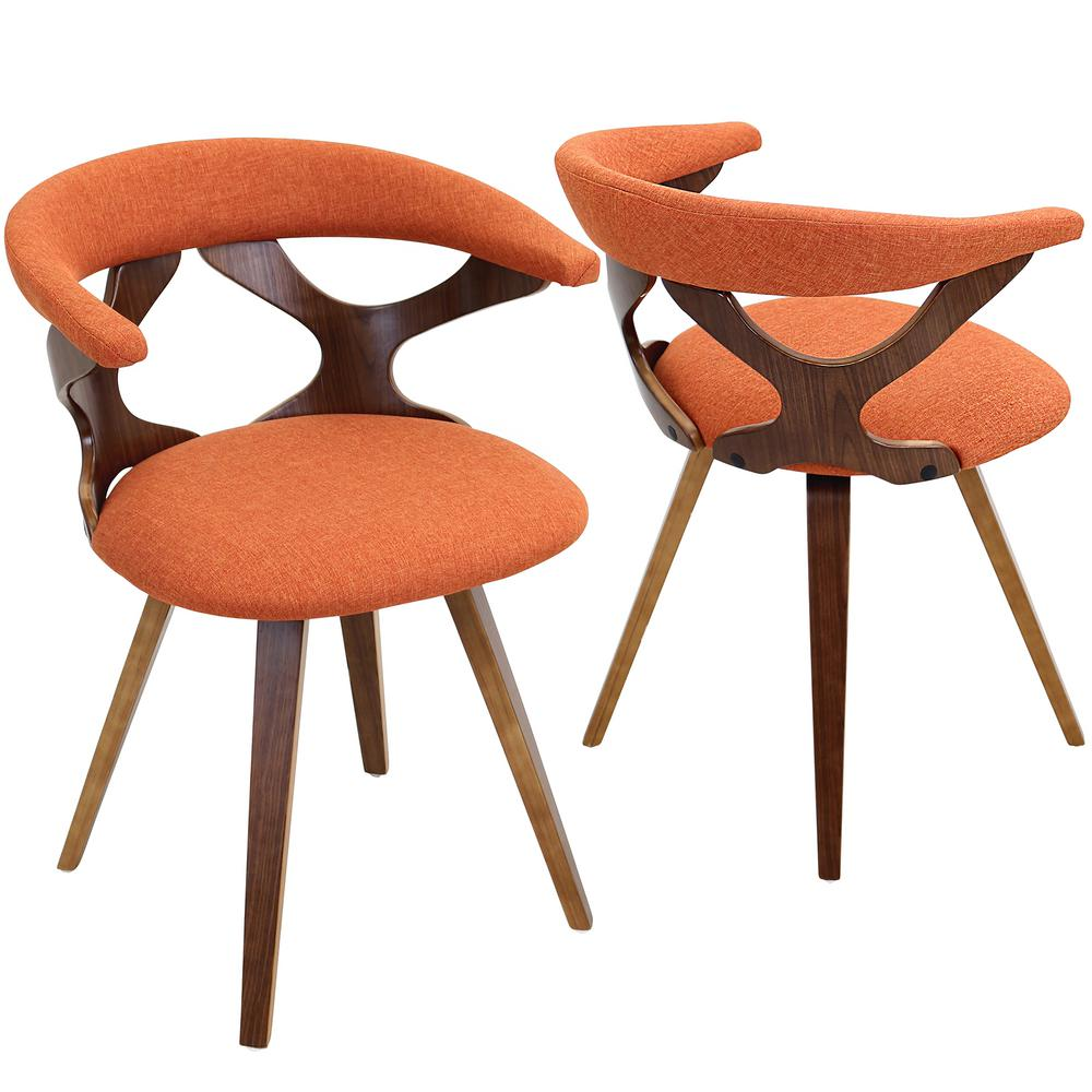 Lumisource Gardenia Walnut And Orange Counter Chair Orange Fabric