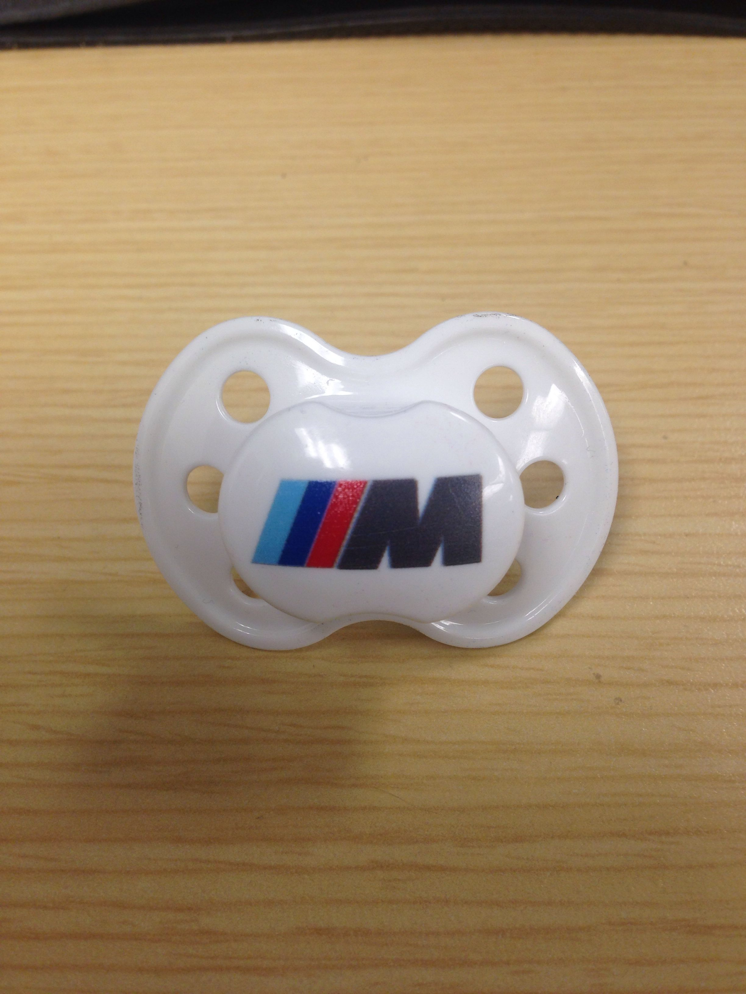 This is the only place to buy a ///M logo baby pacifier or nuk. #bmwnuk.