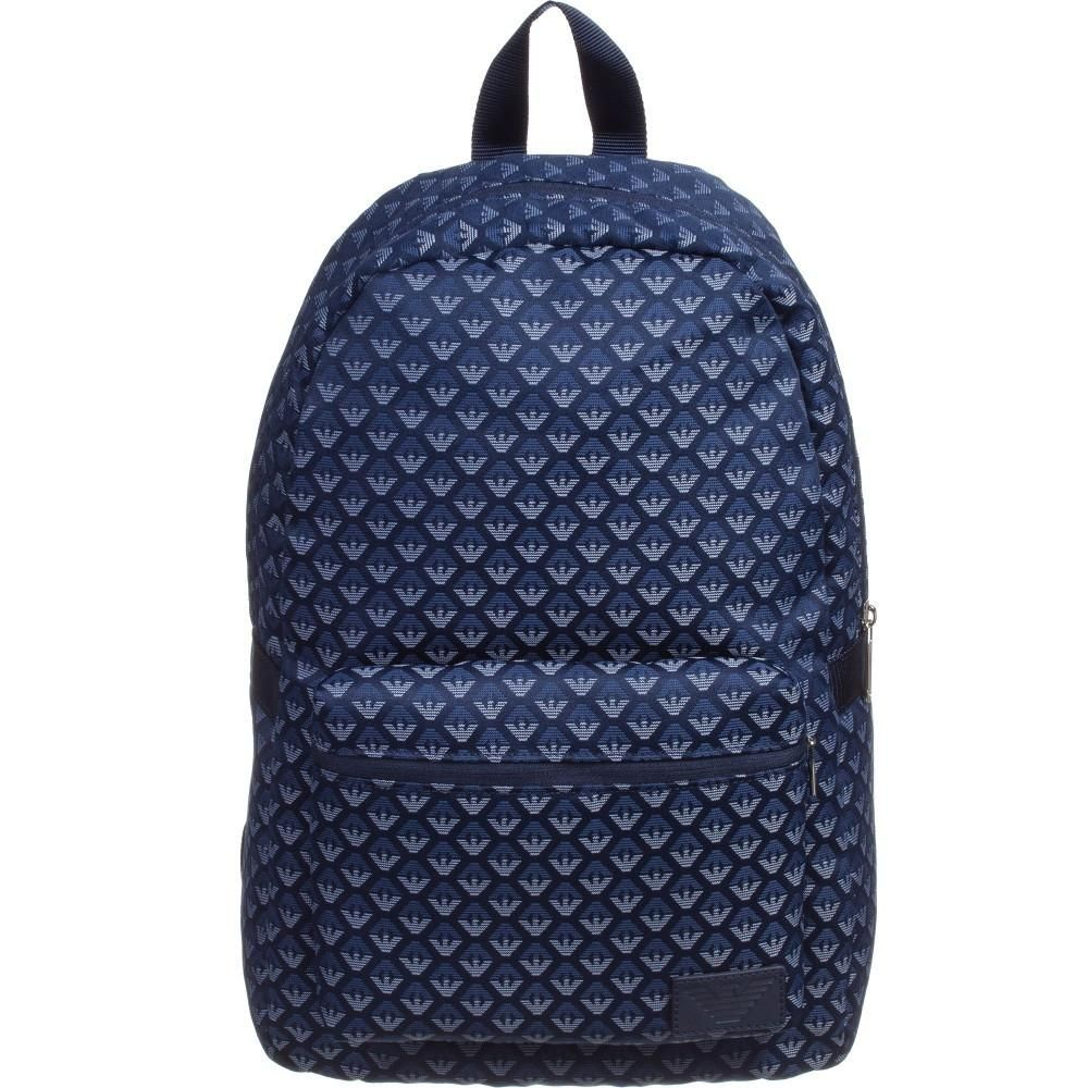 Beautiful Navy Blue backpack with Armani Eagle print. It features an Armani  leather patch with ece5cbd28bd68