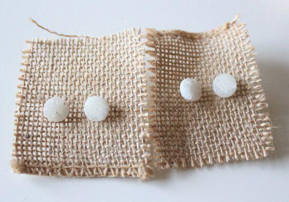 White Druzy Quartz Studded Earrings by SeamaidMarket on Etsy