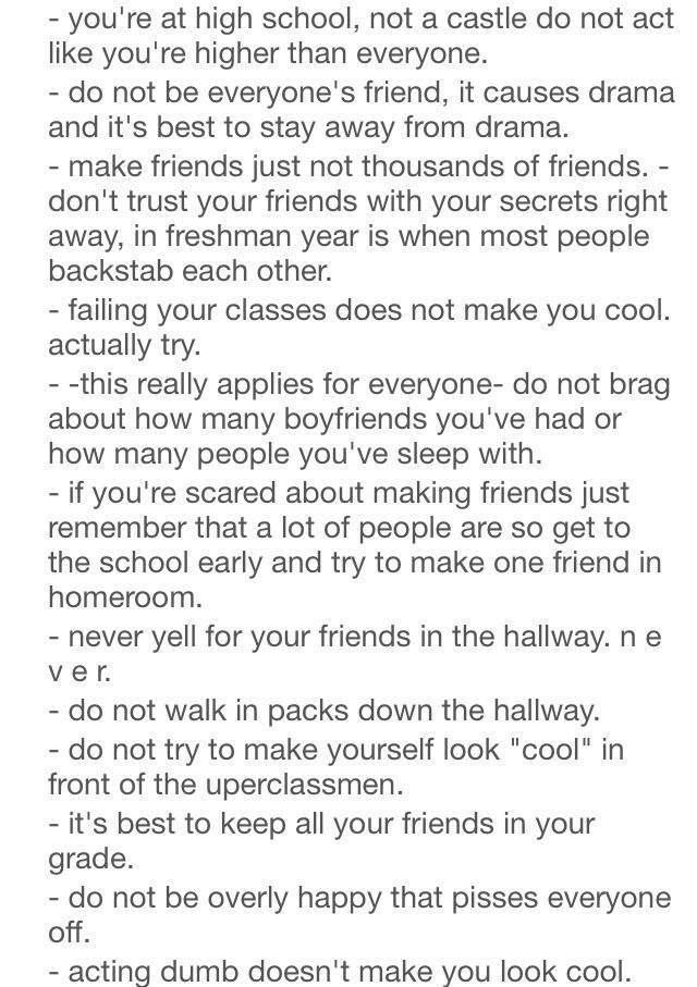 002 Freshman Advice. Life hacks for school, School goals