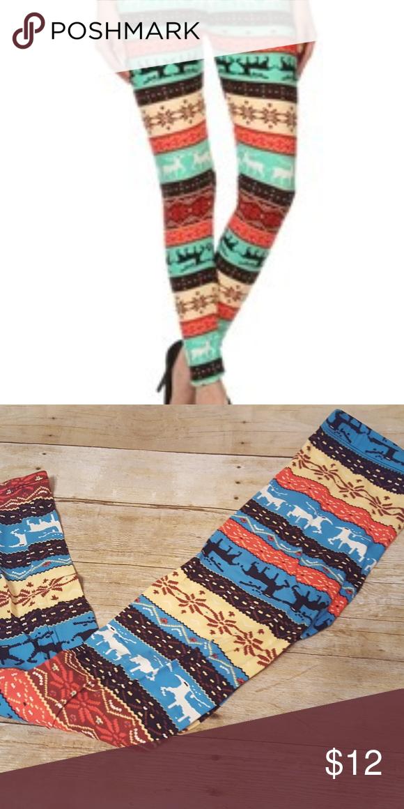 01b560bd01eb5 Leggings Santa Fe Reindeer Buttery Soft Leggings Misses One Size Fits 2-14 Pants  Leggings