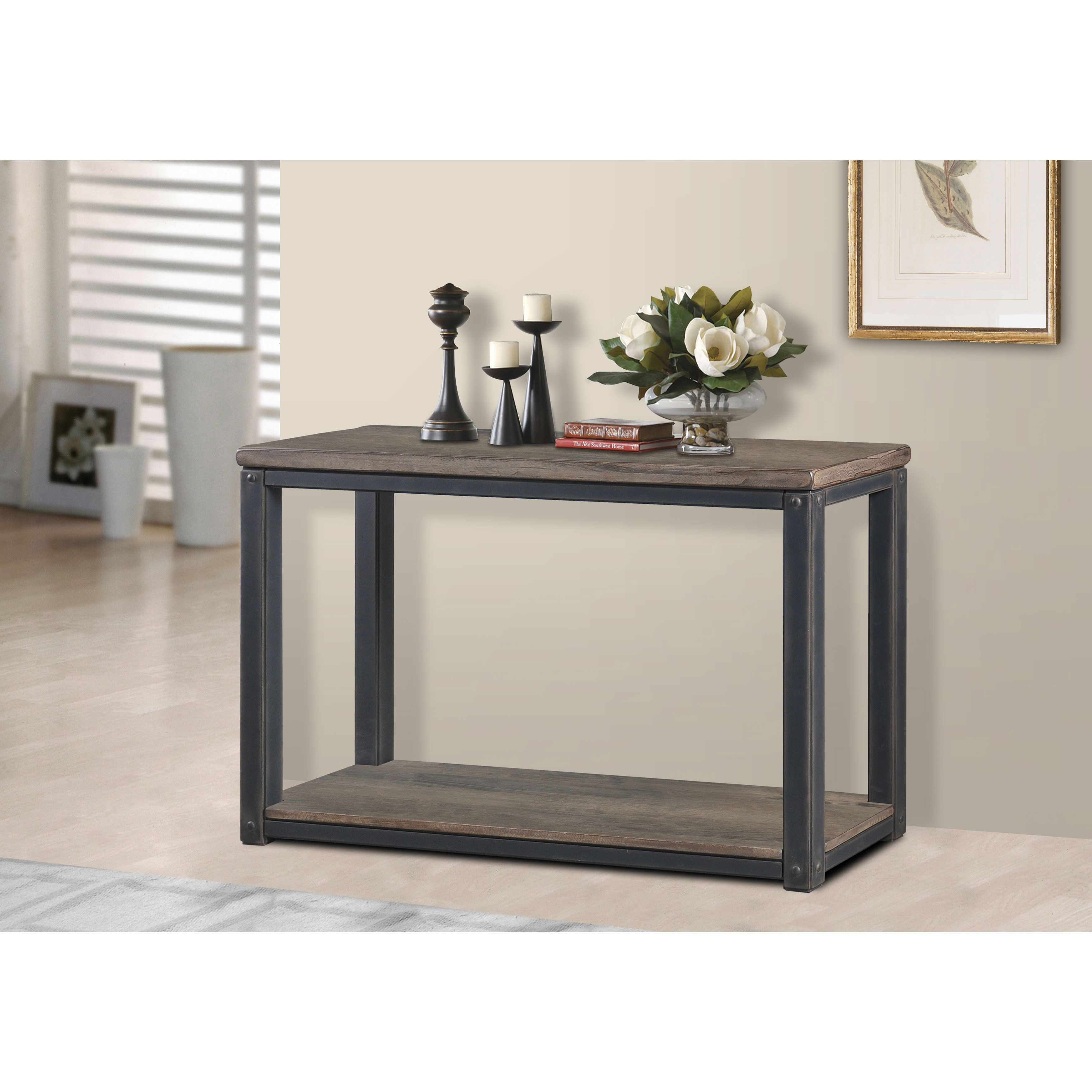 rustic gray sofa table chesterfield sofas for sale this features a metal frame with