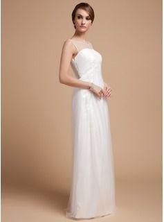 Empire Scoop Neck Floor-Length Tulle Wedding Dress With Ruffle (002014502) - JJsHouse