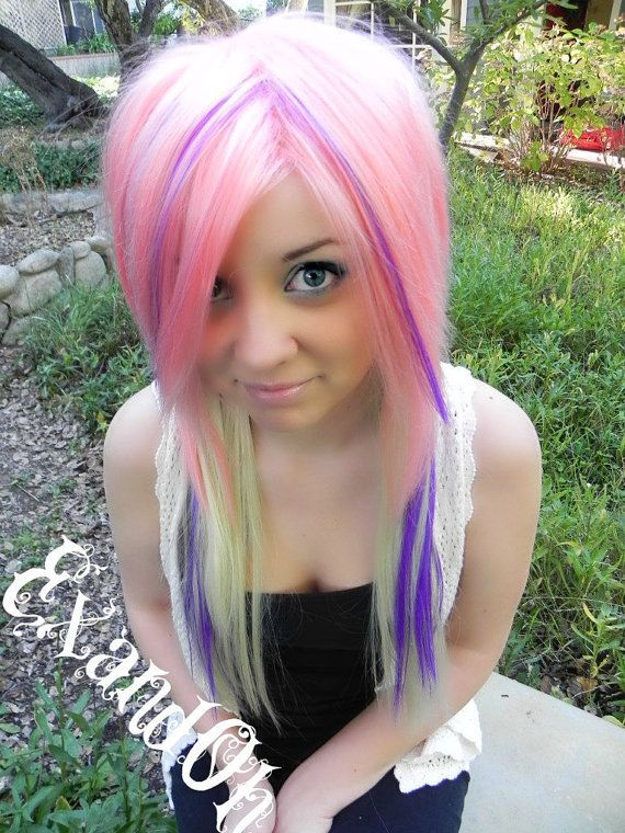 20 OFF SALE Hot Pink and Blue / Long Straight Layered by