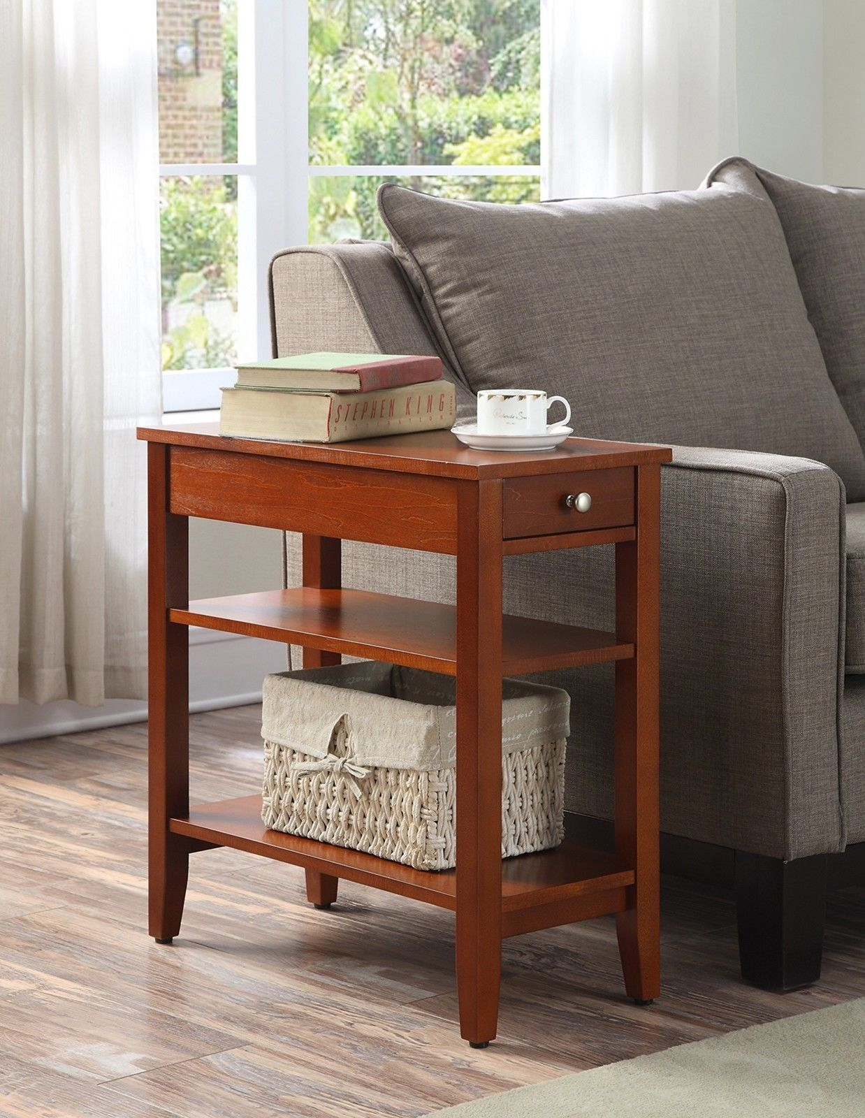 Small End Table Wooden Drawer Chair Side Narrow Home Living Room Furniture  New