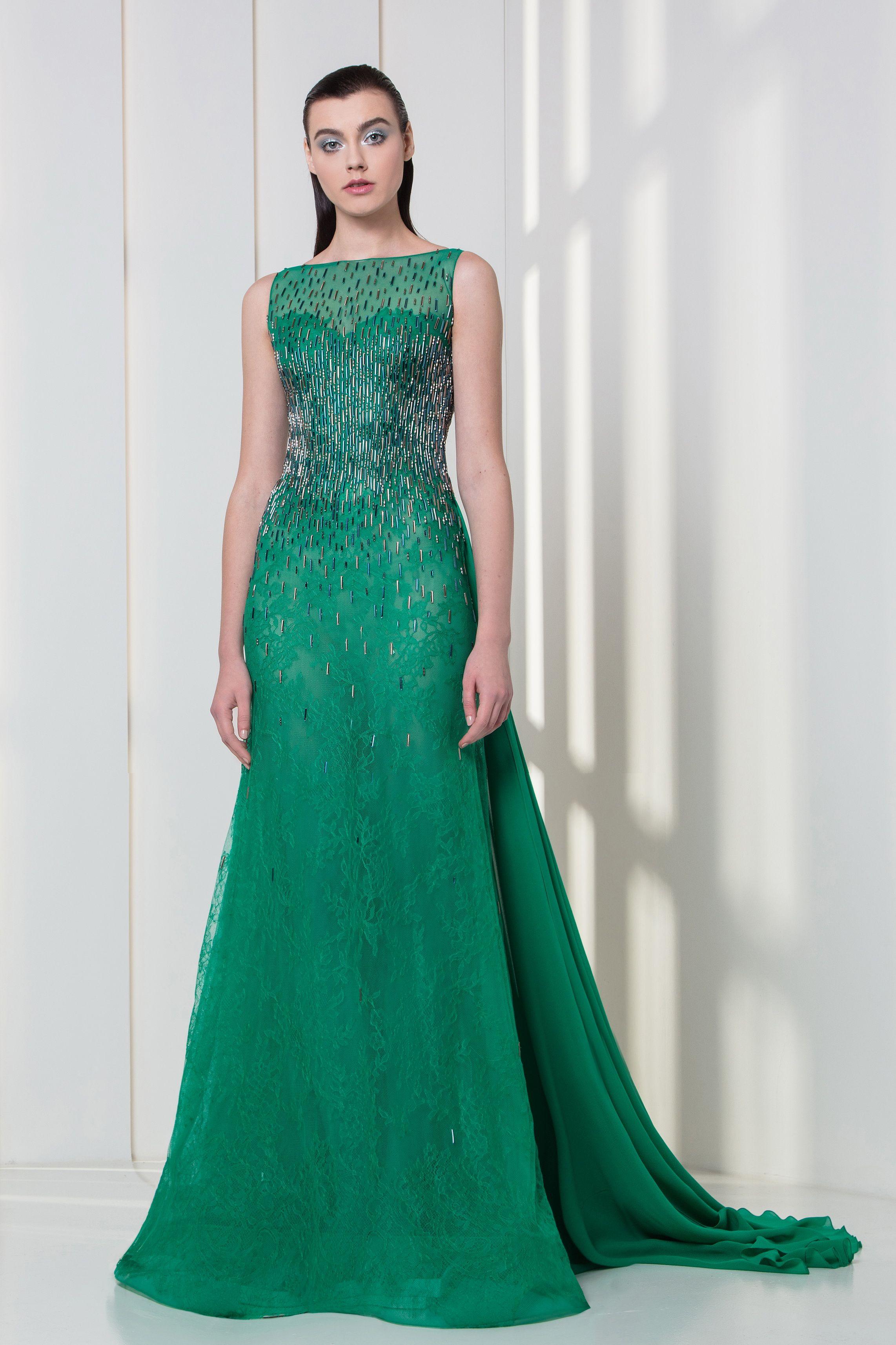 Tony Ward RTW FW 17/18 I Style 22 I Emerald Georgette crepe and lace ...