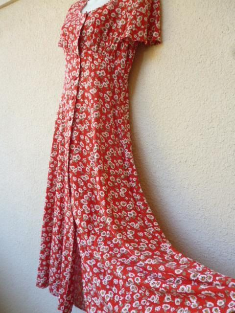1e3c57ec55e8 Vintage 90s MAXI DRESS. Red Floral Print Dress. Grunge Revival Dress.  Romantic Rayon Dress. Flowy Draped Dress. Full Sweep. Gypsy Dress.M