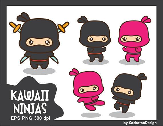 ninja clipart, kawaii ninja clipart, ninja clip art, ninja party