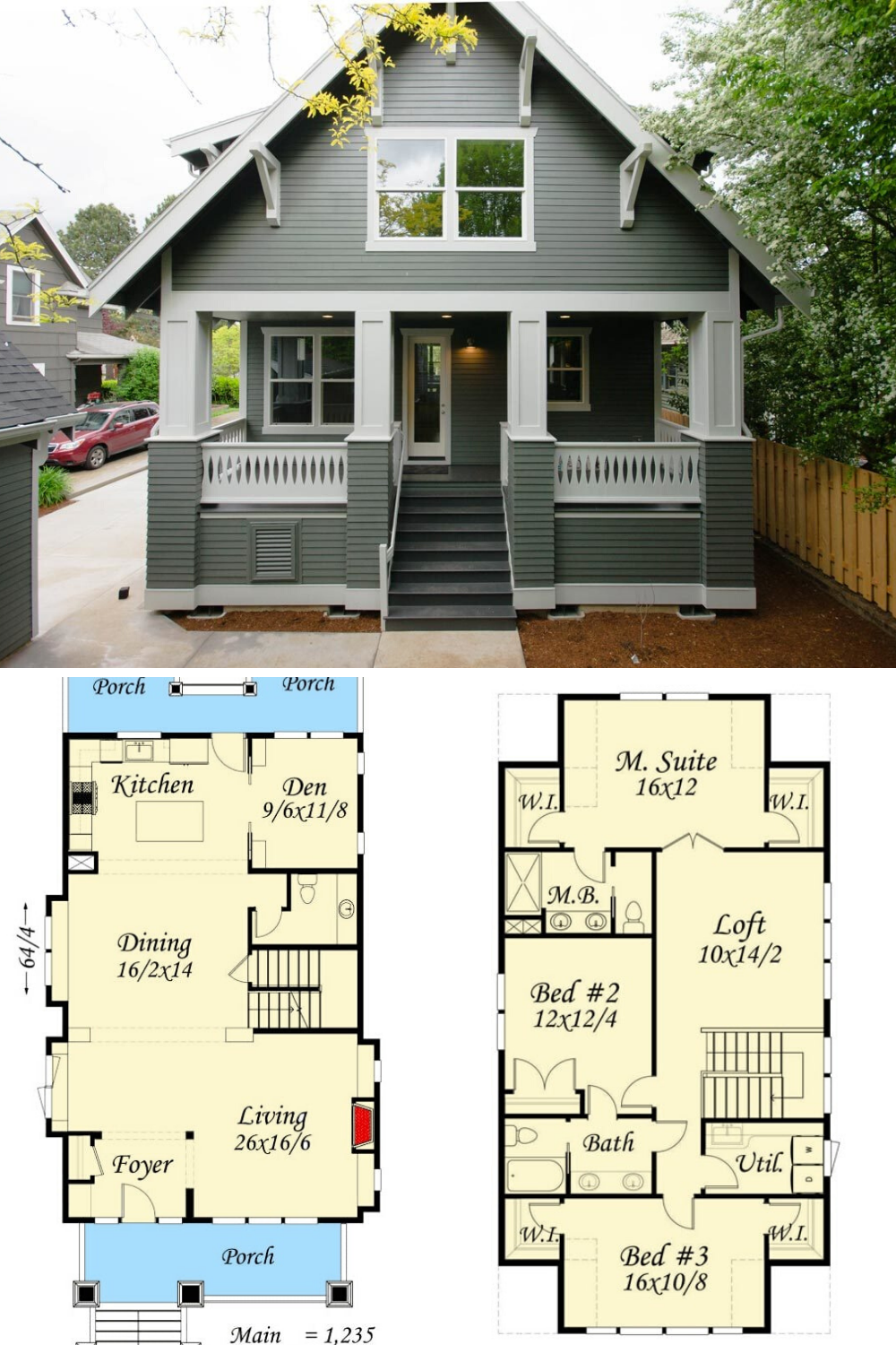 Two Story 4 Bedroom Bungalow Home Floor Plan Craftsman Bungalow House Plans Cottage Floor Plans Craftsman Bungalow Exterior