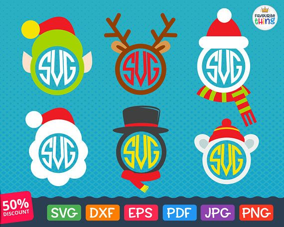 christmas monogram svg santa hat svg reindeer antler frame svg