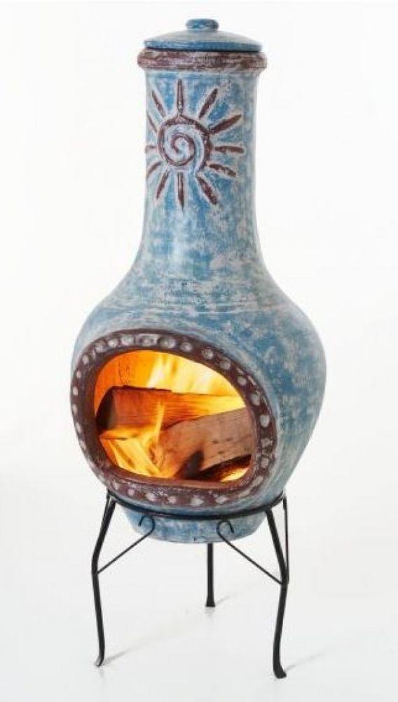 Feuerstelle SONNE 36 x 34 x 95 cm Ton / Metall NEU TOP in Garten