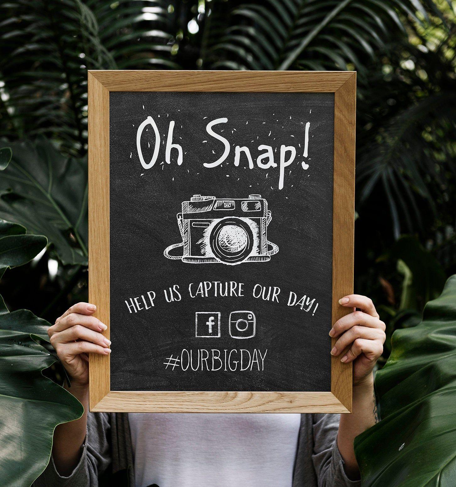 Oh Snap Hashtag Wedding Instagram Sign Chalkboard Etsy