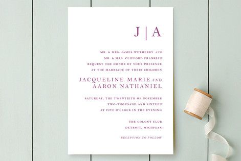 """Sophistotype"" - Simple, Monogrammed Wedding Invitations in Sea Salt by Snow and Ivy."