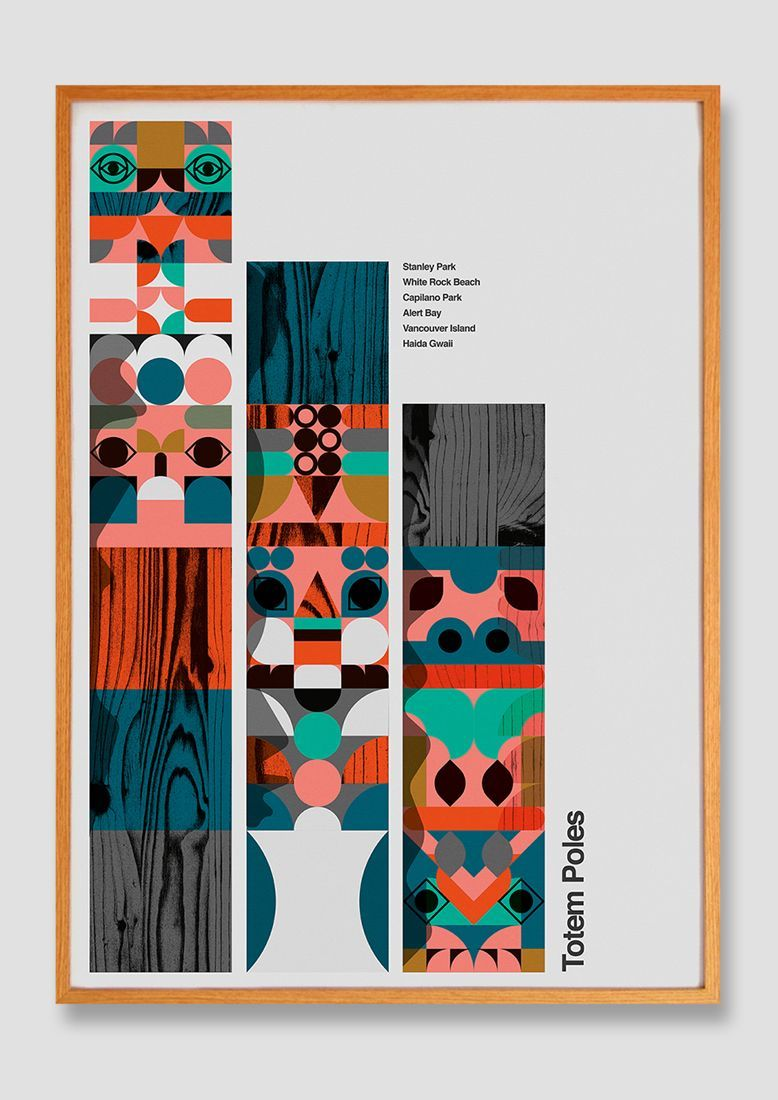 Totem Poles poster for Millican. Visual inspiration from a recent trip to British Columbia #graphic #poster #design #illustration #vancouver #britishcolumbia #contemporaryillustration #totempole #limitedpalette #lemanski #modernism #modernist #graphicposter #texture #wood #frame #artwork