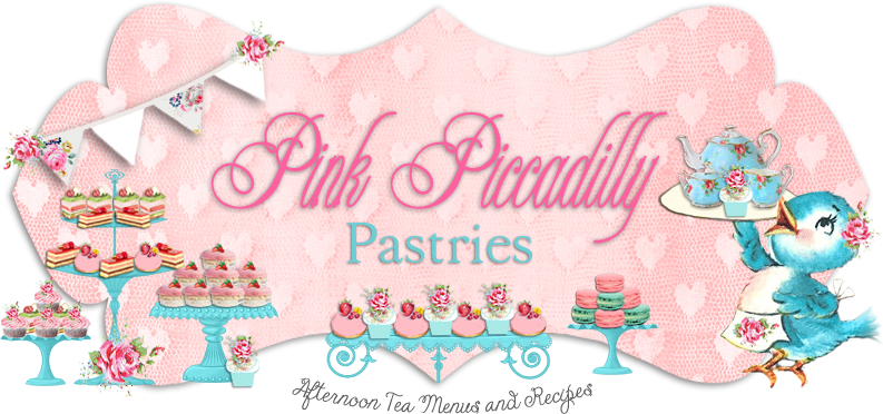 Hello and Welcome to Pink Piccadilly Pastries! My name is Jina and this is my blog. I love Afternoon Tea Parties and creating recipes and menus for them. I like to incorporate French Pastries and whimsical British afternoon tea recipes into my menus. I want my blog to be a place for you to come when you need ideas for a lovely Tea Party or Brunch! So please come by often, have a cup of tea and see what's on the menu!