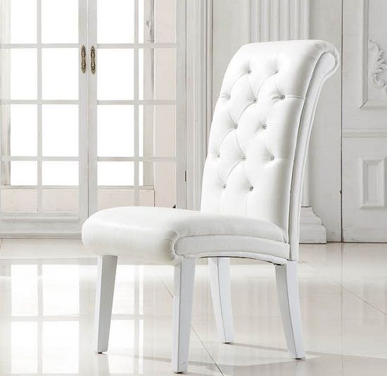 Stella Studded Faux Leather Dining Room Chair In White Leather