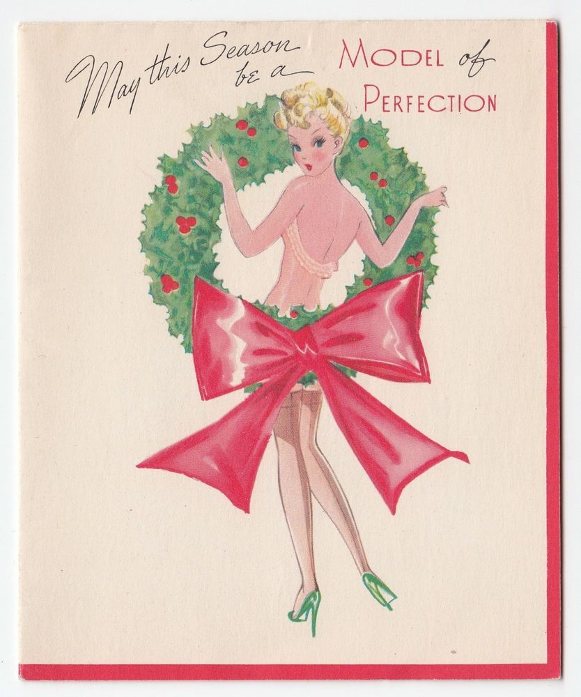 Vintage greeting card christmas risque girl lady pin up model vintage greeting card christmas risque girl lady pin up model wreath 1940s kristyandbryce Choice Image