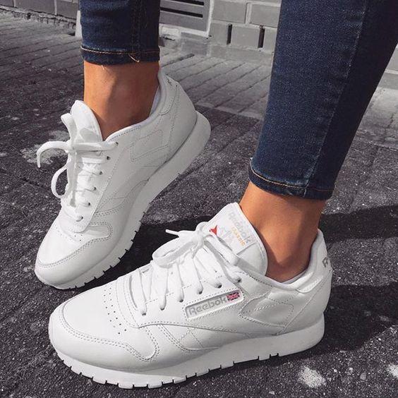 reebok womens white classic sneakers