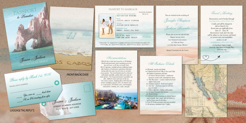 Cabo Destination Passport Wedding Invitations El by Idowithyou