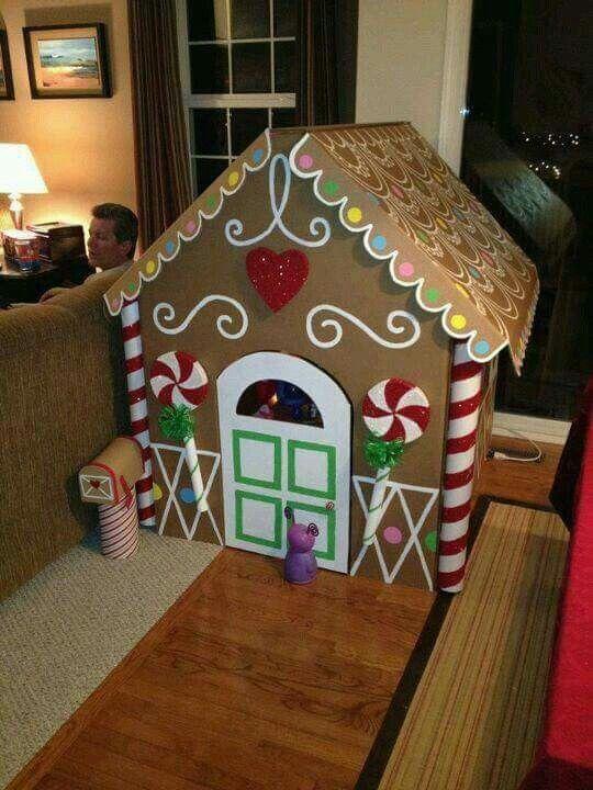 Casita De Carton Cardboard Gingerbread House Christmas Diy Christmas Crafts