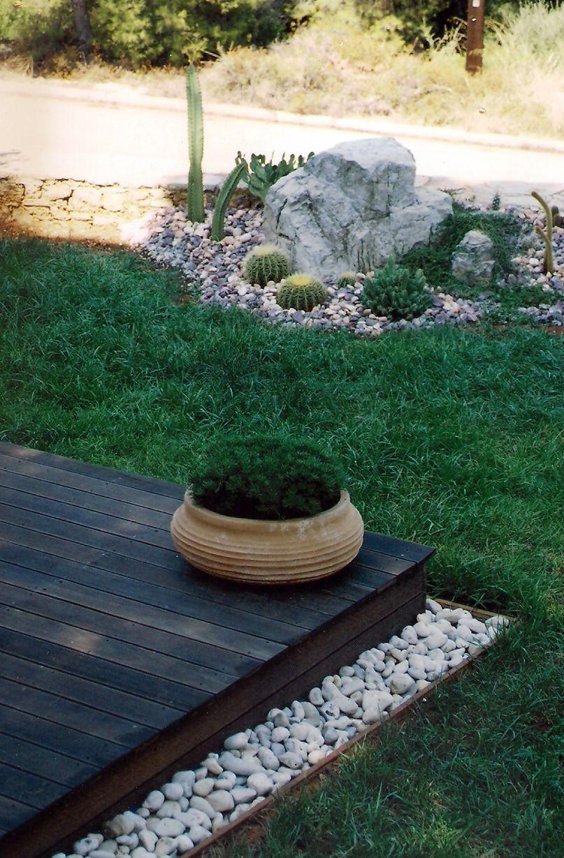 Mediterranean Cacti rockscape with decking   Jardin   Garden ... on rock front yard designs, desertscape front yard designs, landscaping front yard designs,
