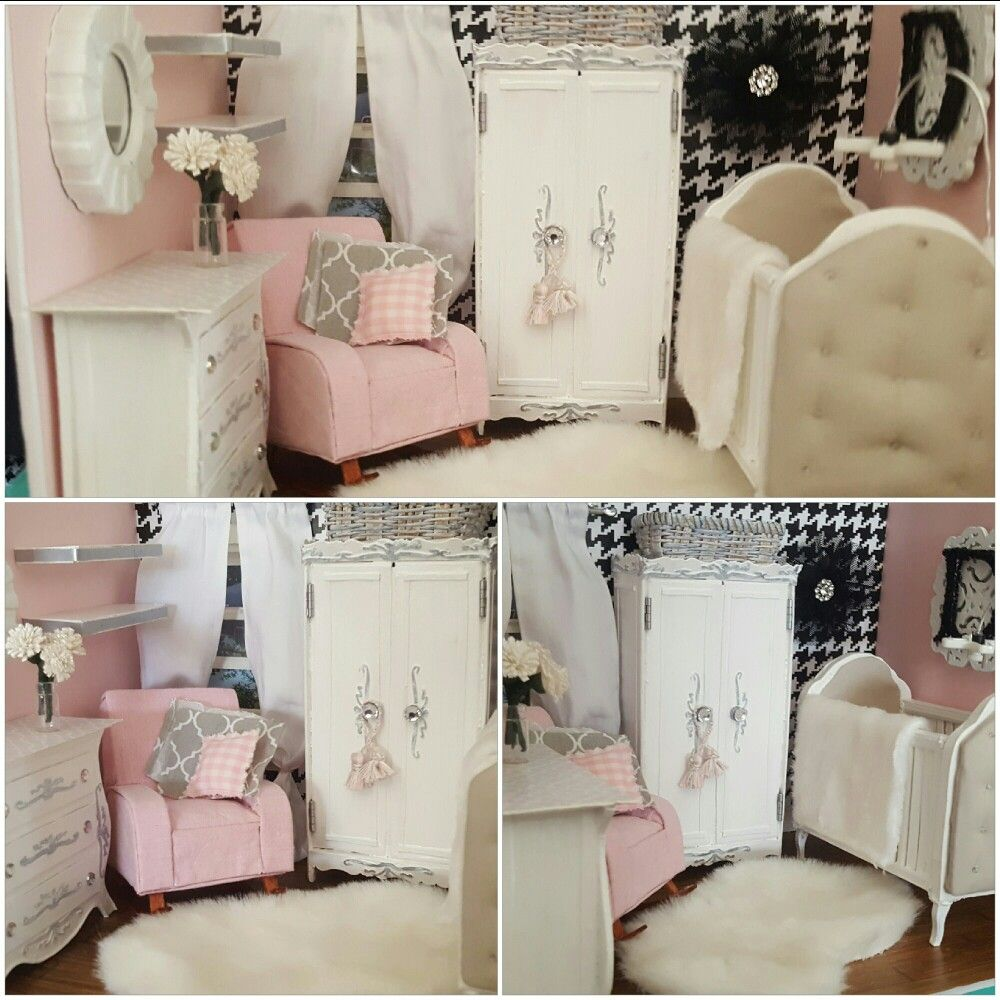 Miniature Dollhouse Baby Girl Nursery All Handmade Using Recycled  # Muebles Lady Lucky