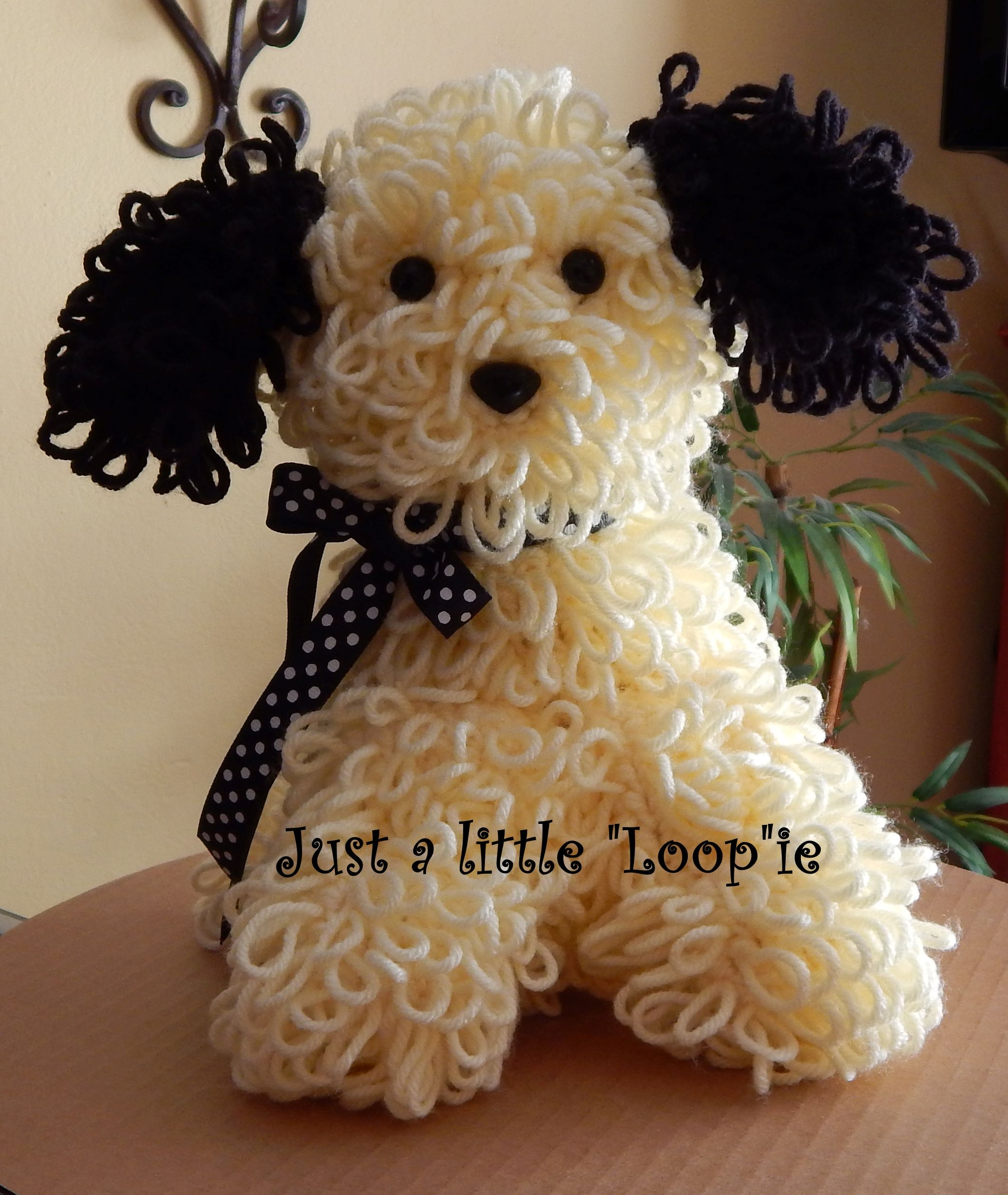 Cute black and white crochet puppy by just a little