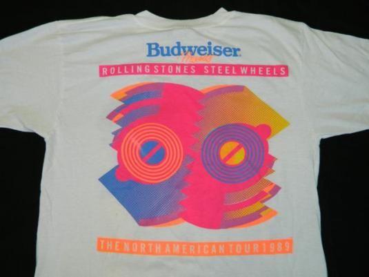 ff13c8aedfcfe Vintage ROLLING STONES 1989 Steel Wheels Tour T-Shirt XL 80s
