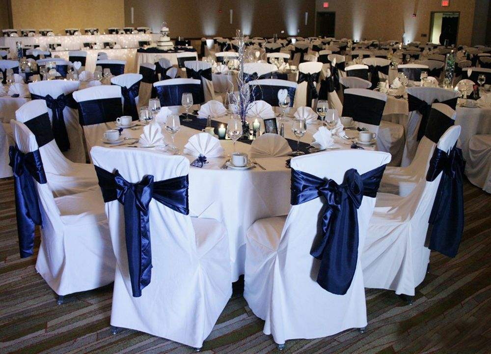 50 Polyester Wedding Banquet Chair Covers For Venue Sash Bow Runner