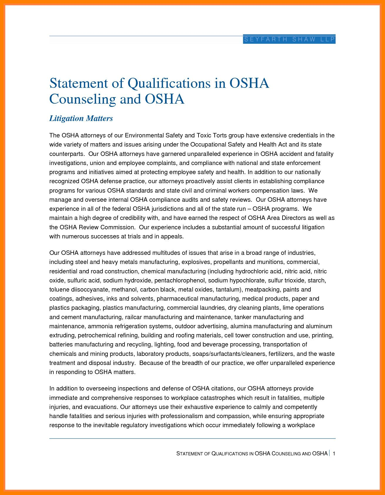 statement of qualifications template