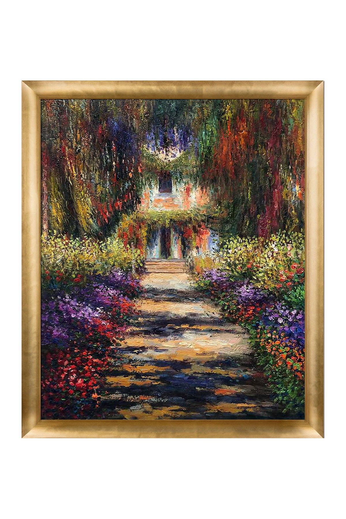 Claude garden path at giverny framed reproduction