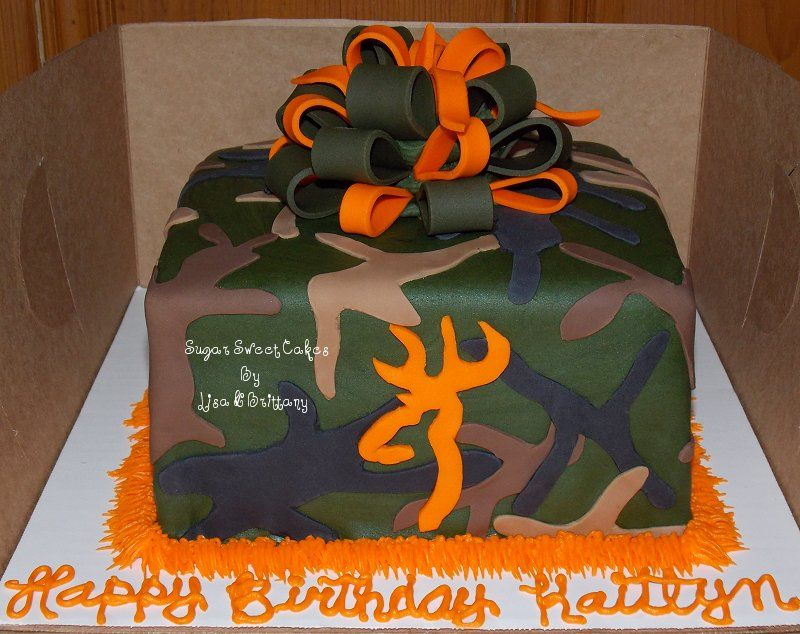 Camo Bow Browning Deer Head 3 layer 8 fondant cake with