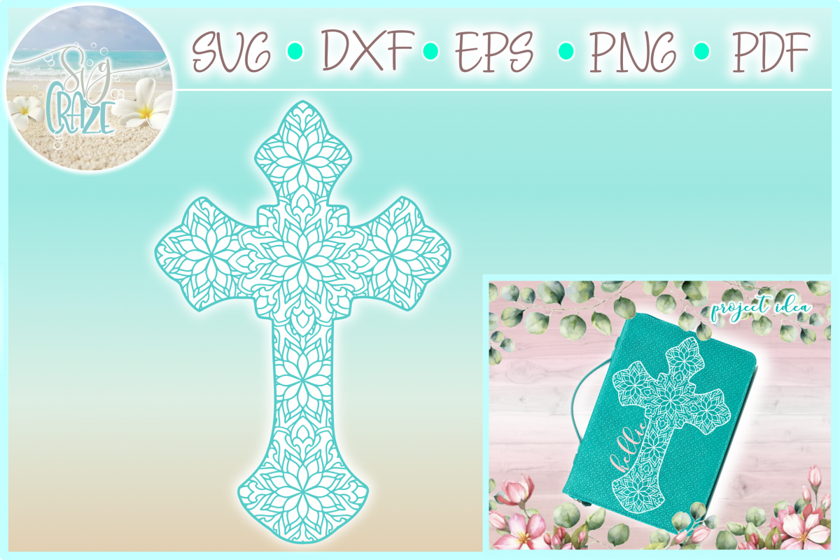 Cross Mandala Zentangle SVG Dxf Eps Png PDF files for