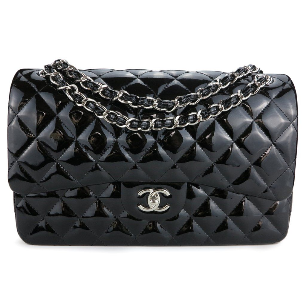 Jumbo Classic Double Flap Bag In Black Patent Leather With Images Flap Bag Chanel Classic Flap Bag Double Flap