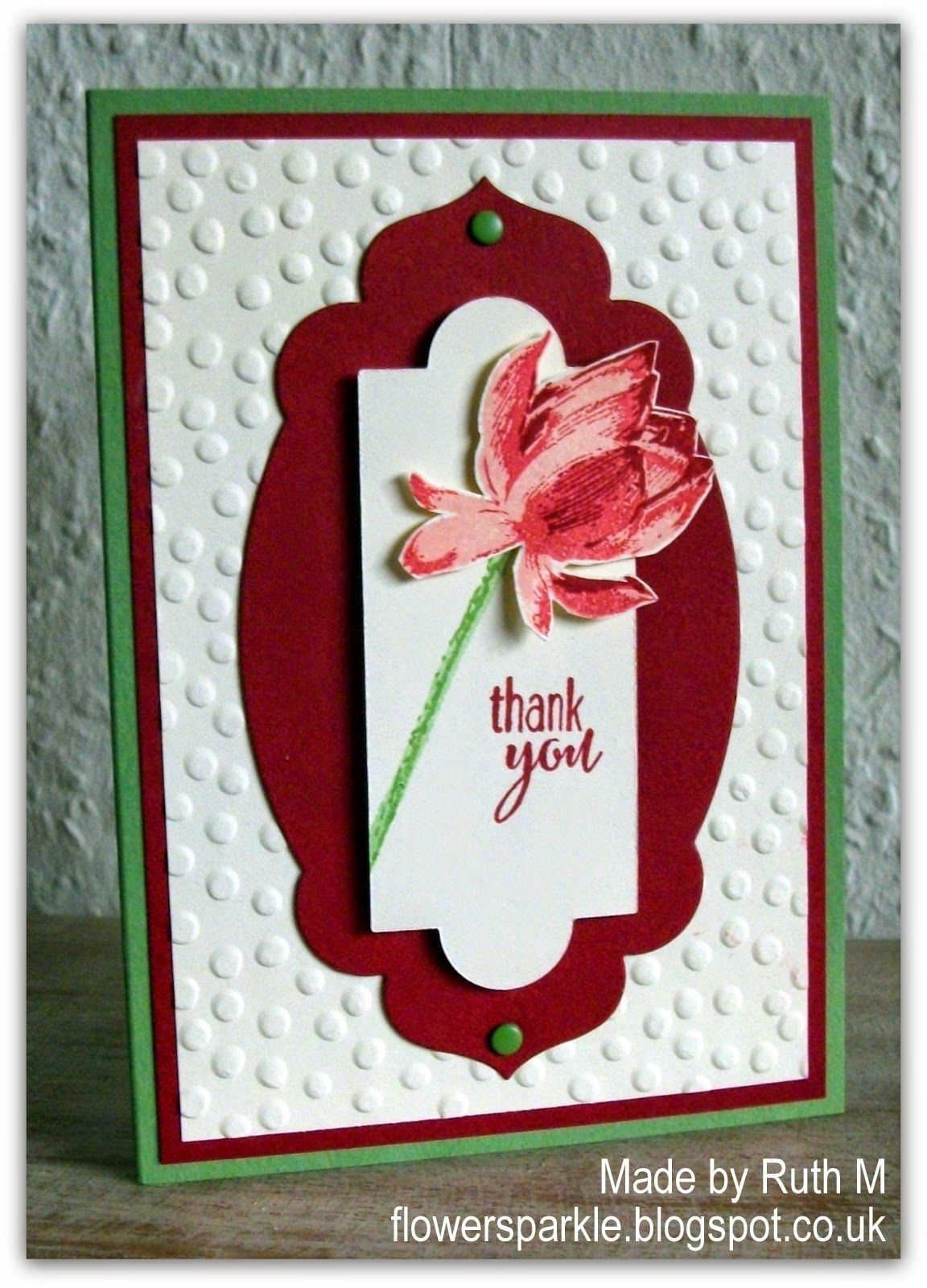 Lotus Blossom Thank You Card Stamping up cards, Embossed