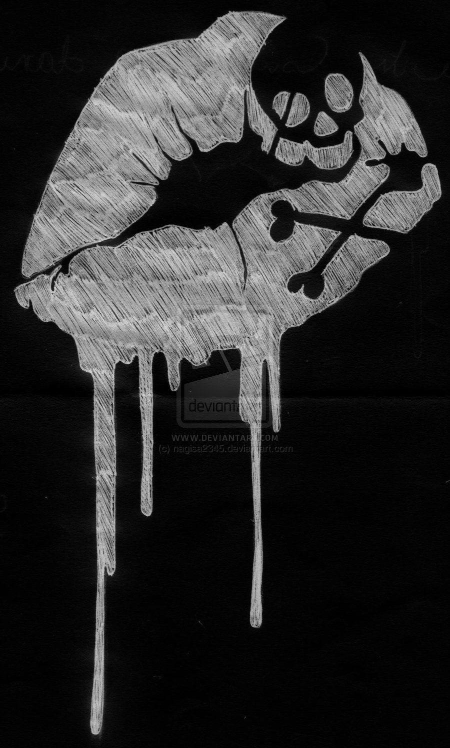 Dripping Skull Kisses T Shirt Bag Design 2