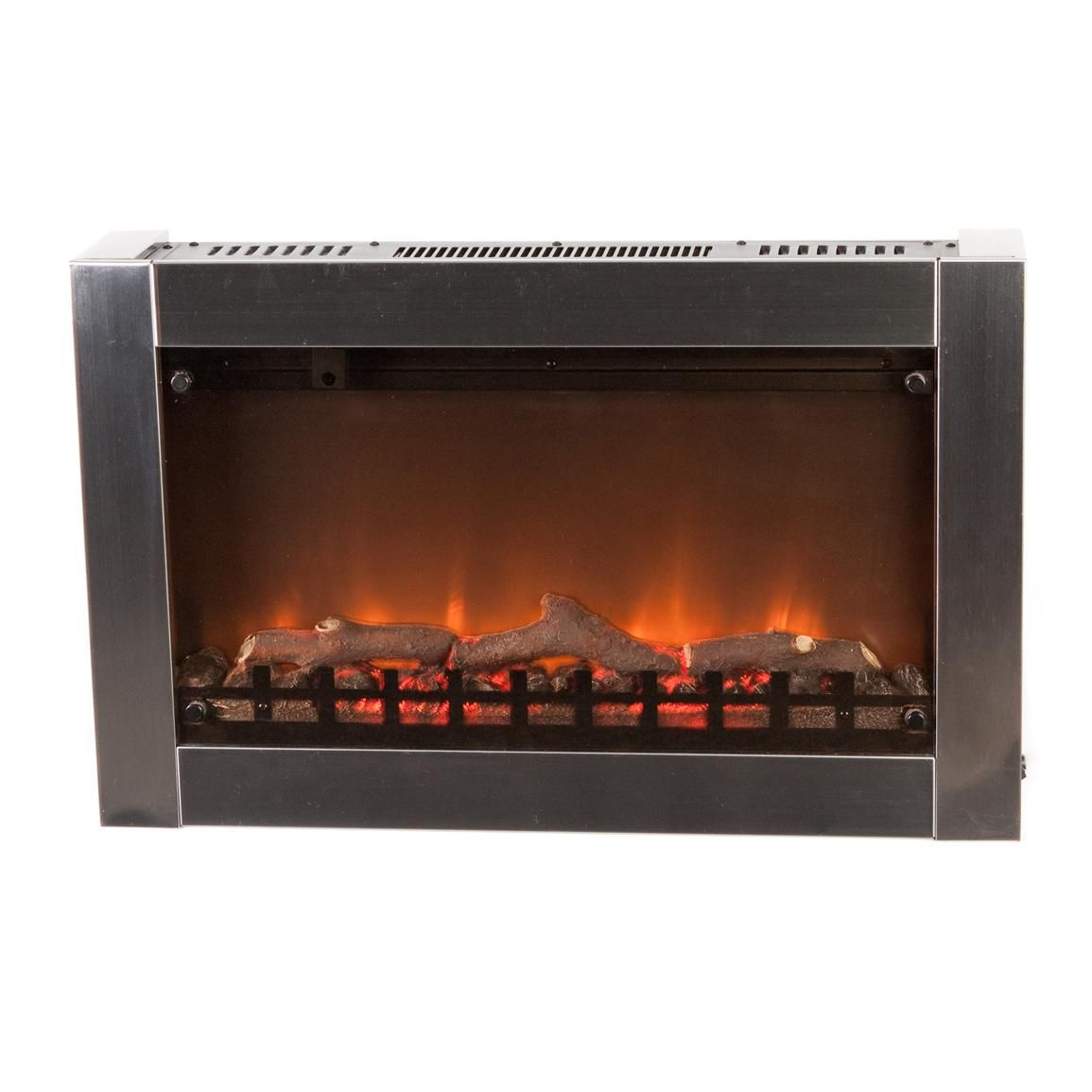 Fire sense black wood wall mounted electric fireplace import it all - Fire Sense Wall Mounted Electric Fireplace Stainless Steel Frame 60758 Wall Mount Electric Fireplace Stainless Steel And Electric Fireplaces
