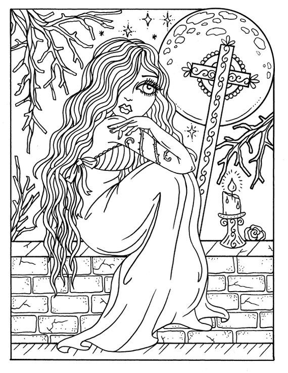 Instant Download Gothic Beauty Coloring Book Adult Coloring
