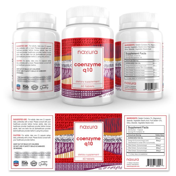 Coenzyme Q Supplement Label Template HttpWwwDlayoutsCom
