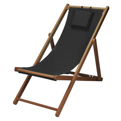 Wooden Black Adjule Lounge Chair W Pillow 87 95