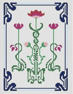 2 Different Quick Stitch Art Nouveau Designs  # 7 Counted Cross Stitch Patterns
