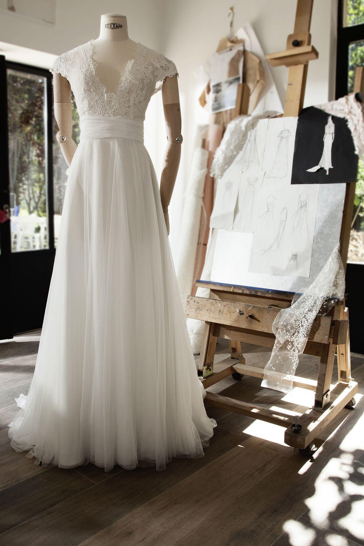 Lace wedding dress tulle november 2018 Im atelier  Hochzeit  Pinterest  Wedding dresses Wedding and