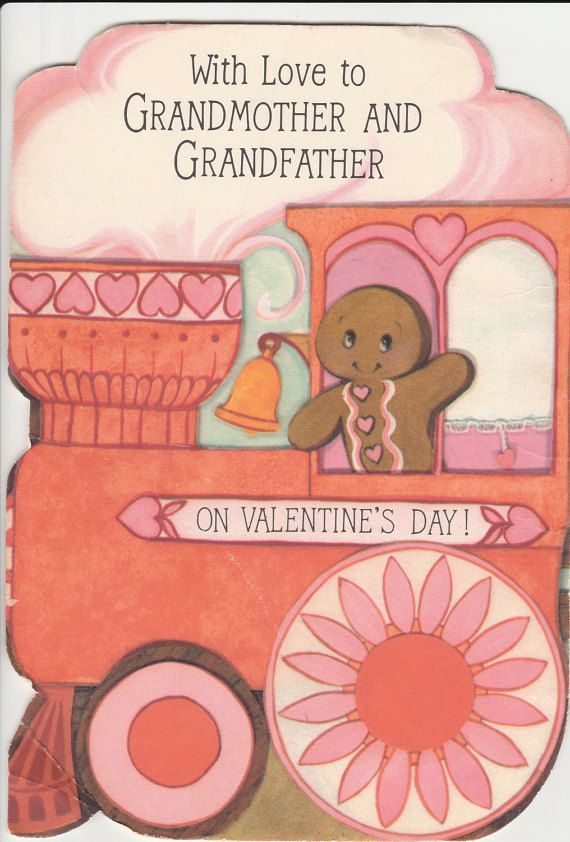 1970s Valentines Day Card For Grandparents Tri by StuckyEstateSale