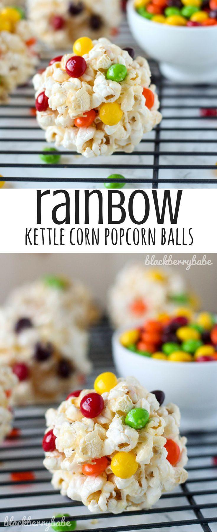 Rainbow Kettle Corn Popcorn Balls #popcornballs