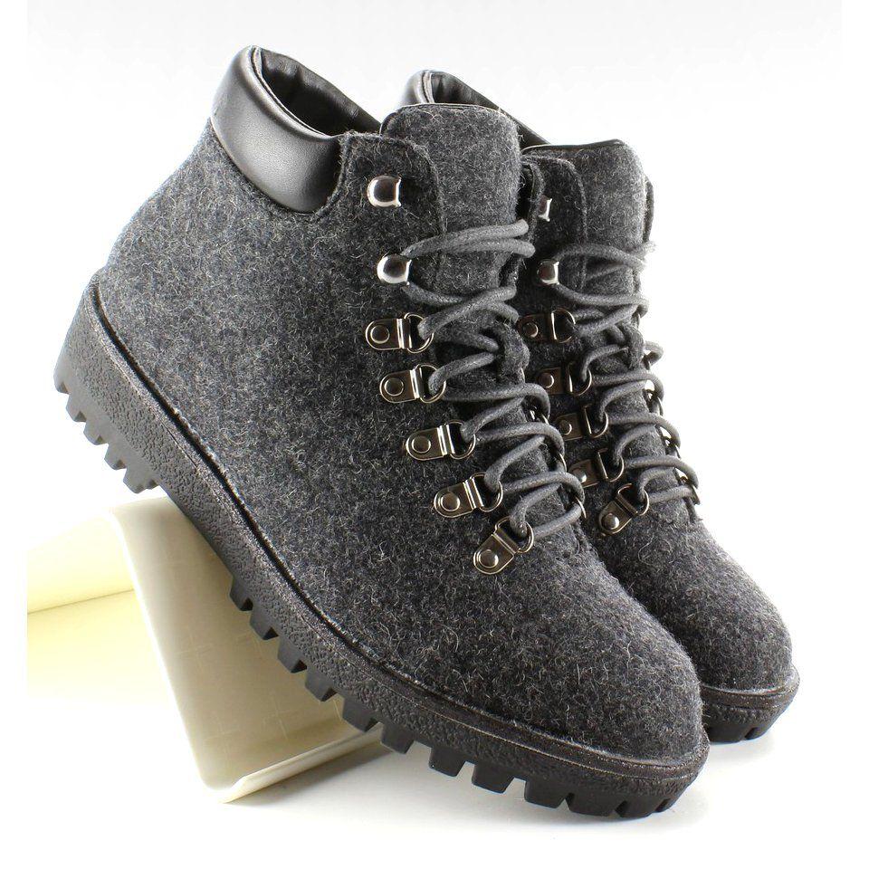Botki Damskie Obuwiedamskie Szare Filcowe Traperki Must Have It 8166 Grey Obuwie Damskie Boots Shoes Timberland Boots