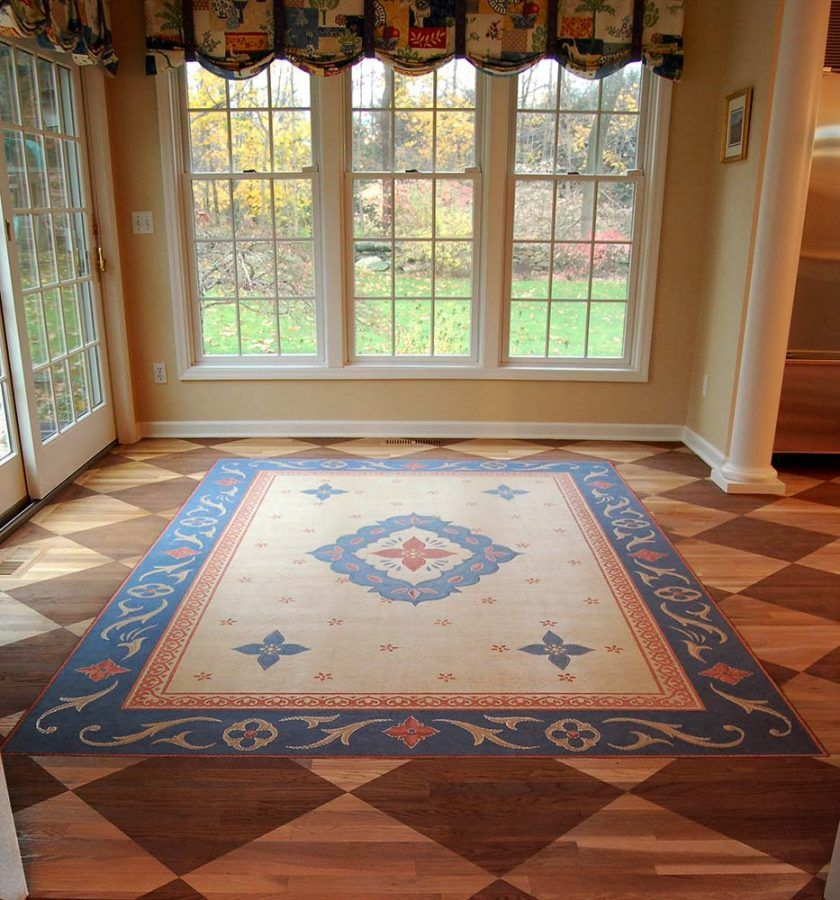 Dining Room Painted Floor With Faux Oriental Rug On Top Of Painted