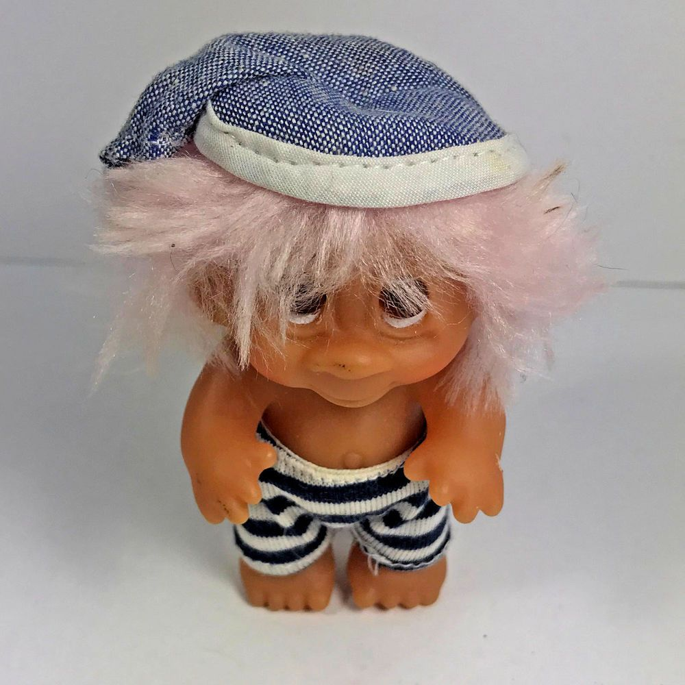 "Vintage 1985 DAM Norfin 3.5"" Troll Bubble Gum Pink Hair #DAM #DollswithClothingAccessories"