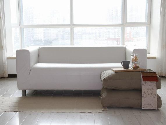 Custom Ikea Klippan Sofa Cover 2 Seater In Modena White Bycast Leather