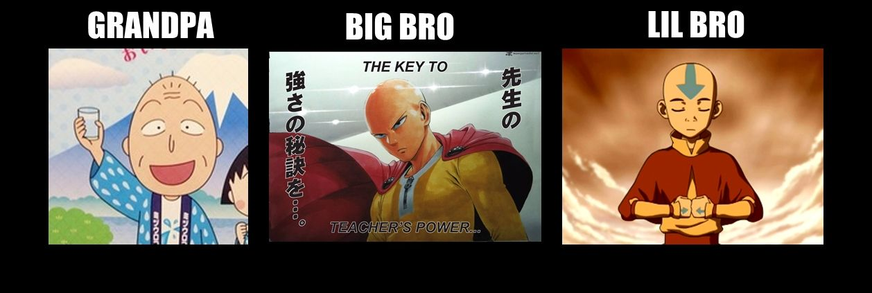 left to right:grandfather (chibi maruko-chan)saitama (one punch man)avatar aang (the legend of aang)
